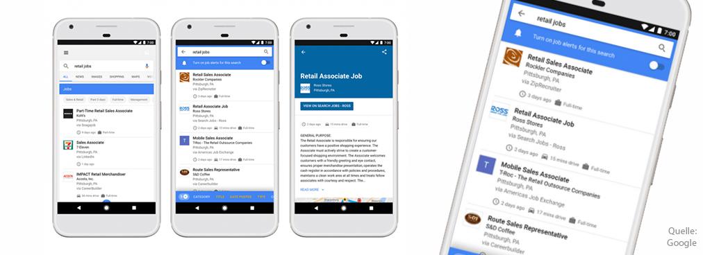 Vier Smartohones, die Details zu Google for Jobs zeigen