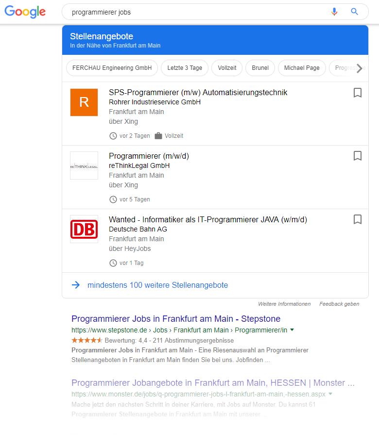 Google for Jobs Stellenangebot in den Suchergebnissen