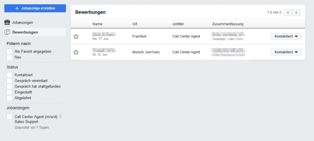 Auflistung der eingegangene Bewerbung auf die Stelle des Call Center Agents in Facebook