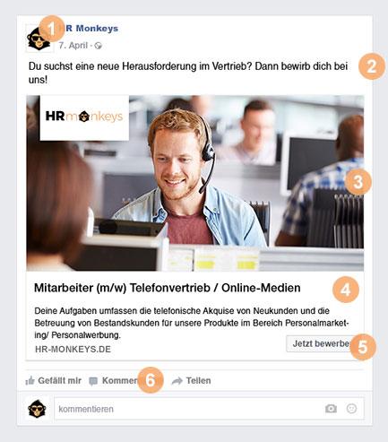 Facebook Stellenanzeigen schalten - Beispiel Werbeanzeige