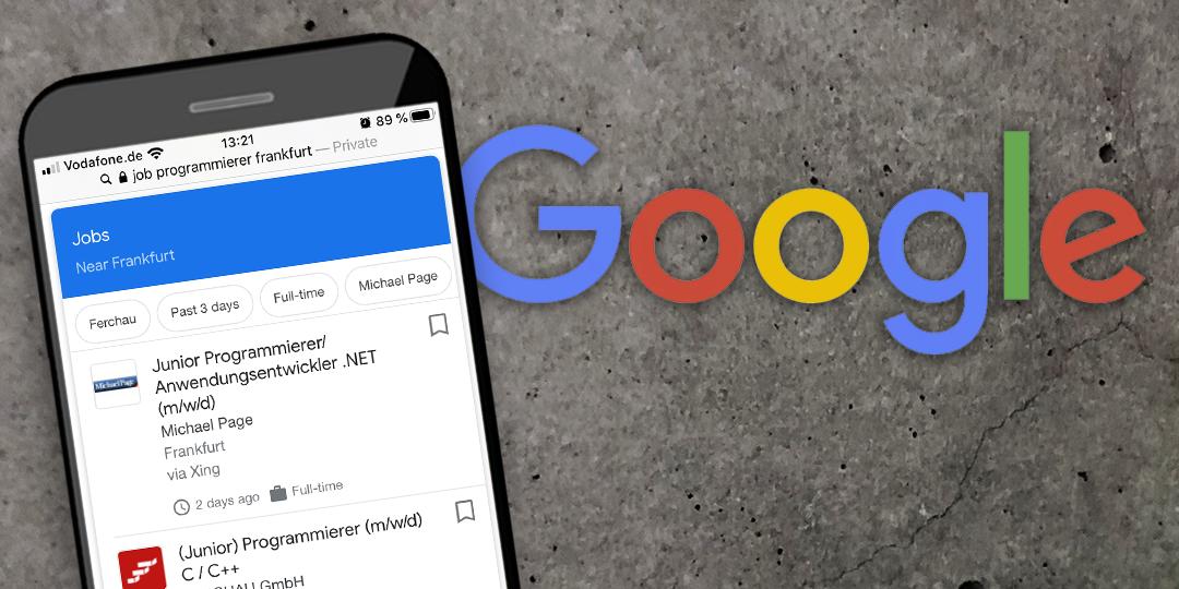 Smartphone mit der Jobbox von Google
