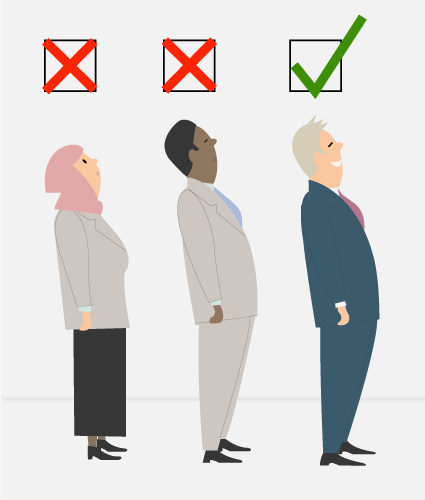 Illustrierte Personen, mit verschiedene Merkmalen wie Kopftuch, dunkle Haut