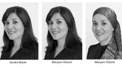 Vergleich von drei Frau, die identisch aussehen, aber unterschiedlichen Namen tragen